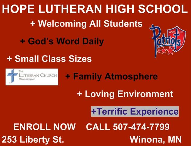 Hope Lutheran High School Preserving and Extending the Kingdom of Jesus Christ